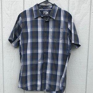 Men's FOX button front plaid shirt L